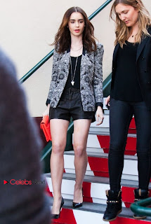 Lily Collins Pictures in Leather Shorts On the set of Extra in L.A ~ Celebs Next