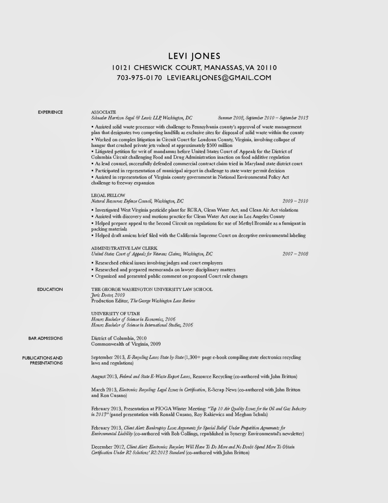 Litigation associate resume