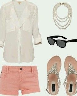 fce397b8568147bc699b11356e9bf37dI love this outfit idea.White shirt, pearl necklace, sunglasses, pink shorts and sandals for ladies.