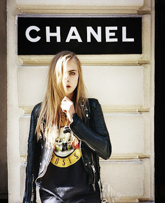 Cara Delevingne Street Style, Leather Jacket, Fashion Model, Runway Model, Chanel, guns and roses