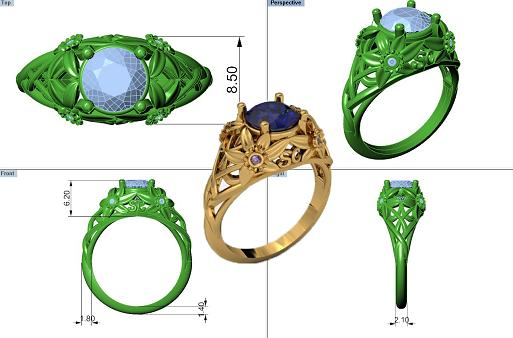 aesera diamonds 3d rhino diamond gold retail jewel cad