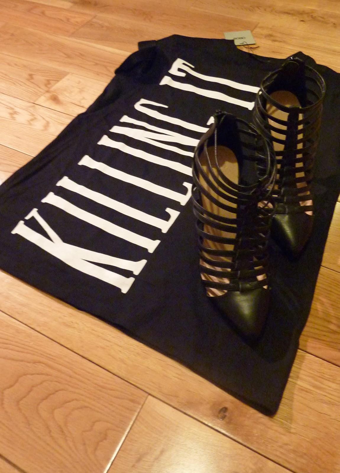 Killing It ASOS Oversized T-Shirt ASOS Tatum Gladiator Pointed Shoe Boot