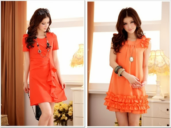 orange dresses for women