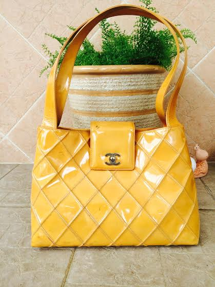 Truly Vintage Authentic Chanel Yellow Quilted Patent Leather