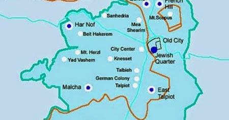 Map of Jerusalem  Free Printable Maps