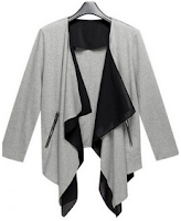 Grey Draped Collar Crop Sleeve Coat