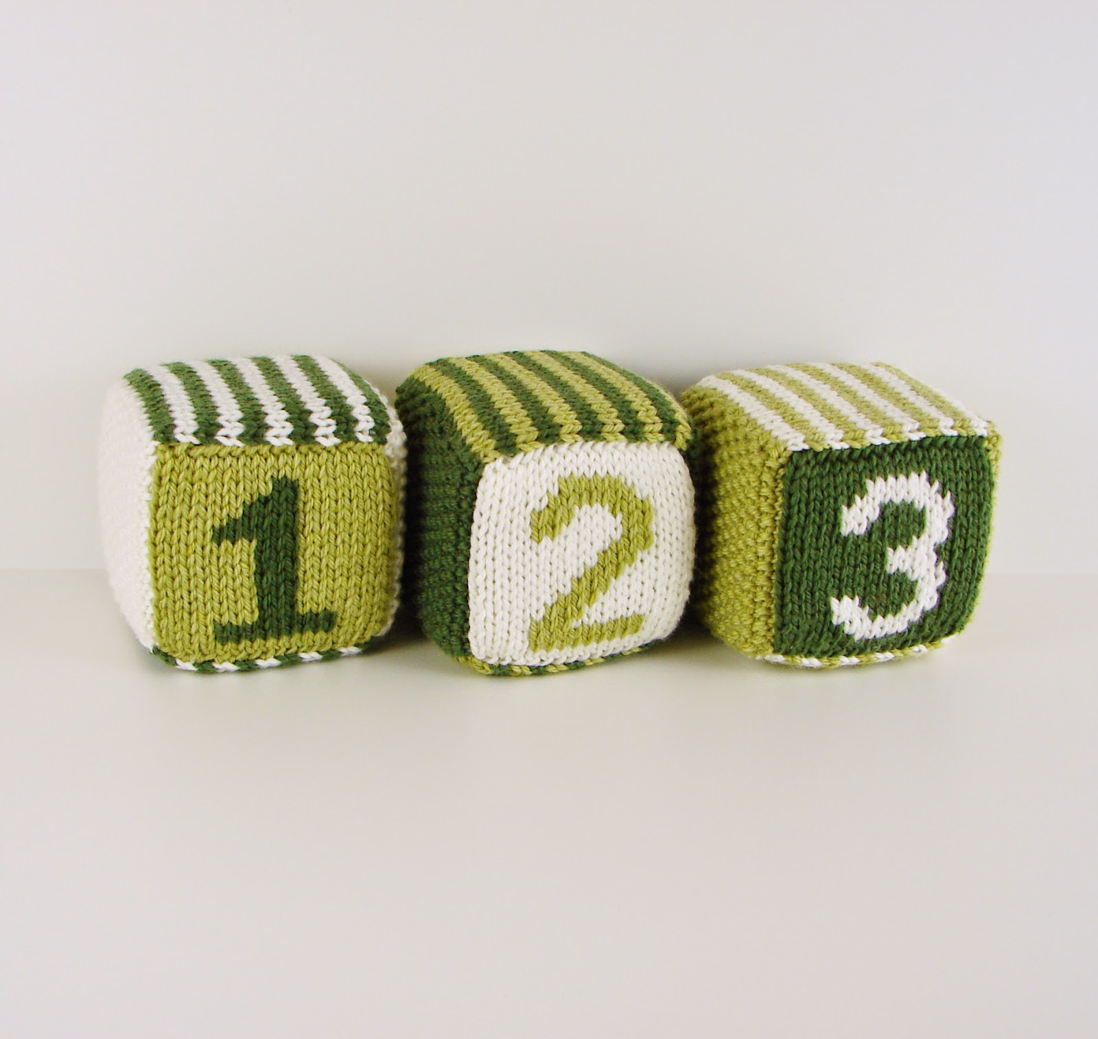 knit, blocks, foam, toys, hand knit, letter, number, striped, white, green