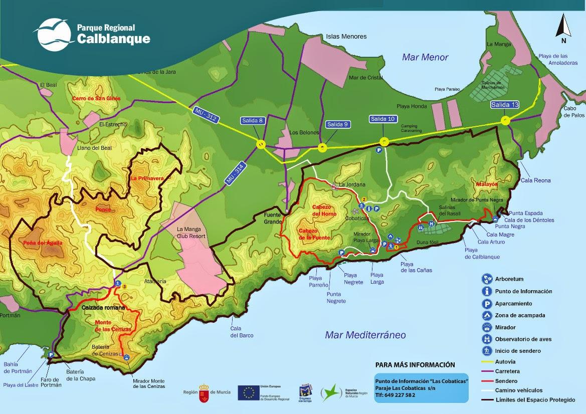 Mapa del Parque Regional de Calblanque, Monte de Las Cenizas y Peña del Aguila
