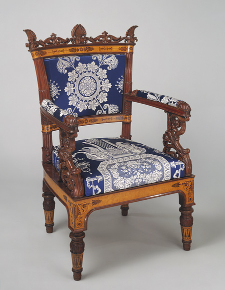 Filippo Pelagio Palagi, Pair of armchairs (part of a set), ca. 1835, Italian (Piedmont), Mahogany veneered with maplewood and mahogany, covered with modern silk brocade, Metropolitan Museum of Art, New York