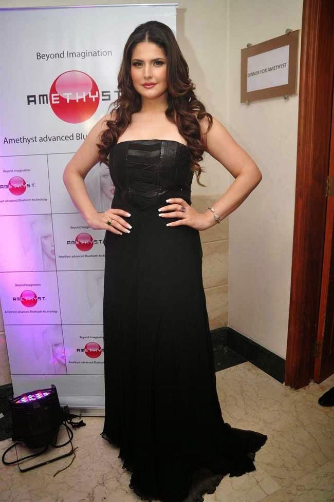 Zarine Khan In Black Strapless Gown