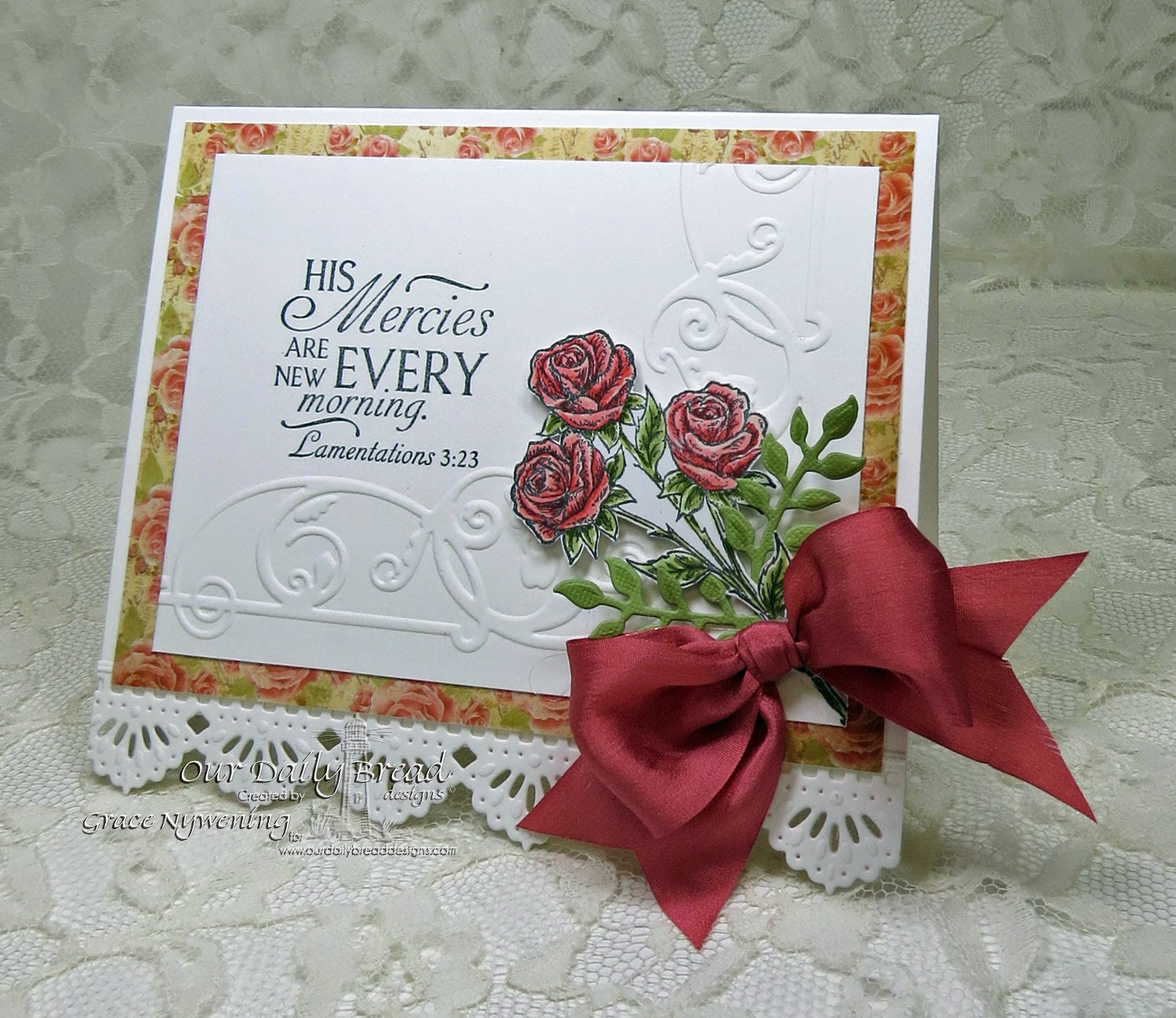 ODBD stamps: Rose Mini, Glory, ODBD Fancy Foliage Die, ODBD Beautiful Border die,designed by Grace Nywening