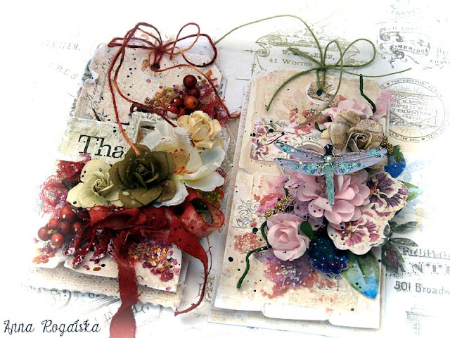 Scraps of Elegance scrapbook kits: Anna Rogalska created these gorgeous mixed media shabby chic cards / tags with our Lisa's Sweet September Kit. Find our kits here: www.scrapsofdarkness.com