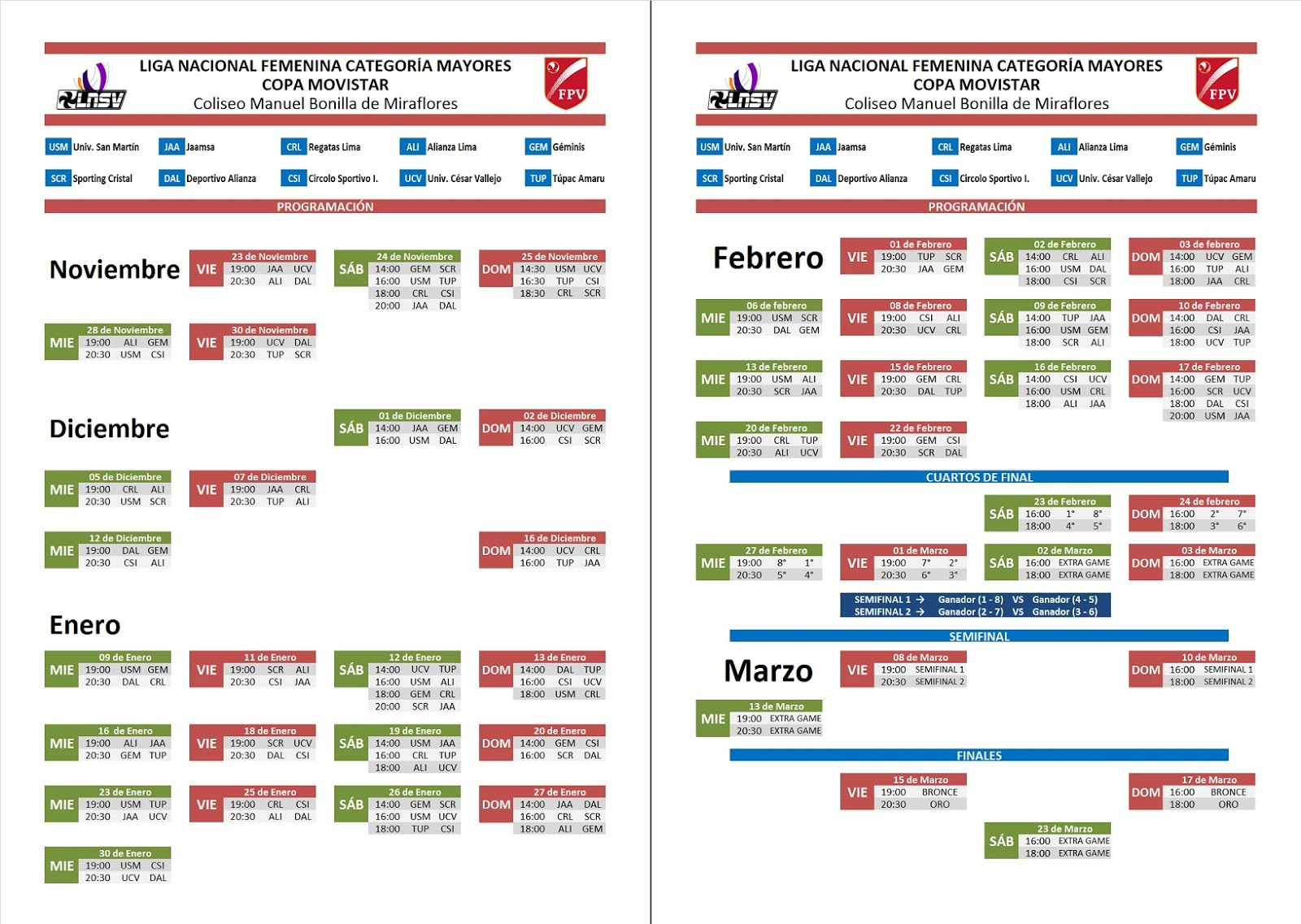 Calendario LNSV Femenino Mayores