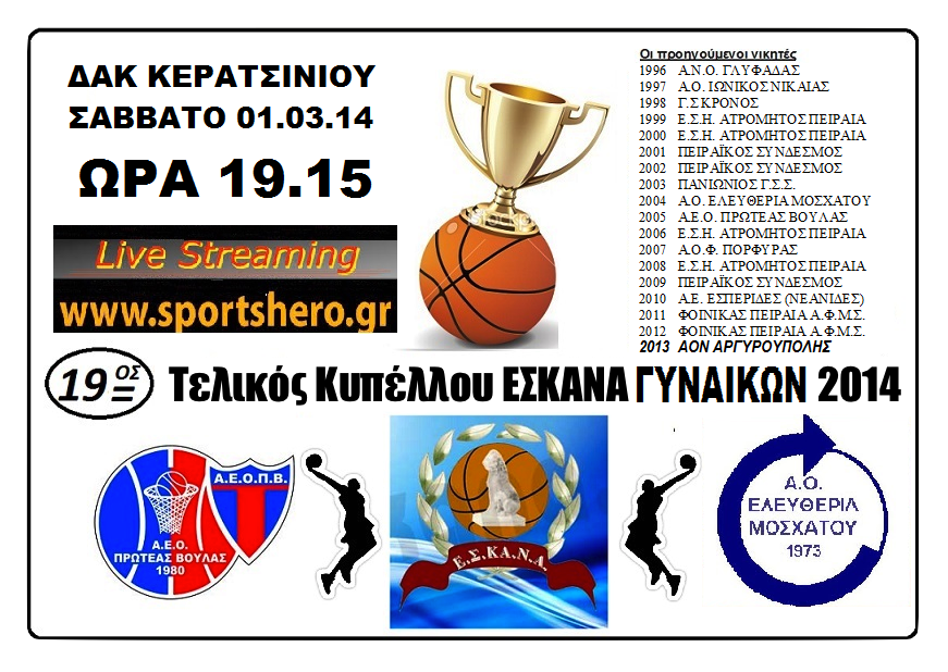 LiveScore στο www.eskana.gr και σε LiveStreaming από το www.sportshero.gr Ο ΤΕΛΙΚΟΣ ΤΩΝ ΓΥΝΑΙΚΩΝ - Πρωτέας Βούλας (N) - Ελευθερία Μοσχάτου (Κερατσίνι 01.03.14 - 19.15)
