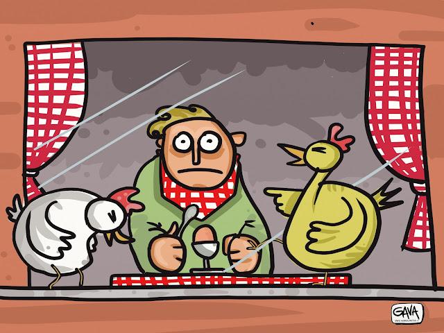 galline uova Gava Satira Vignette