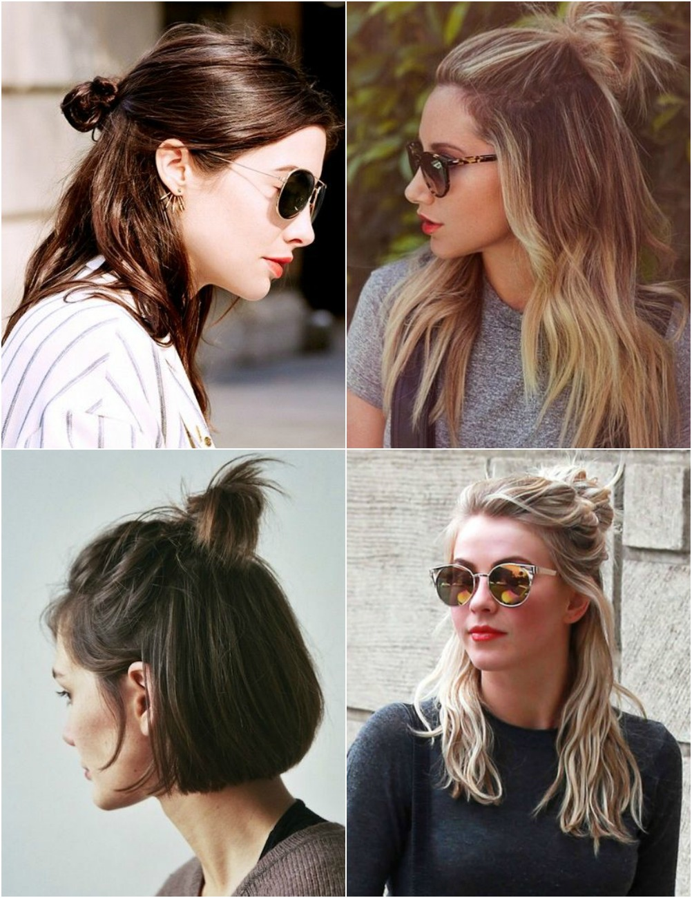 hair buns, top knot, half up half down, half bun