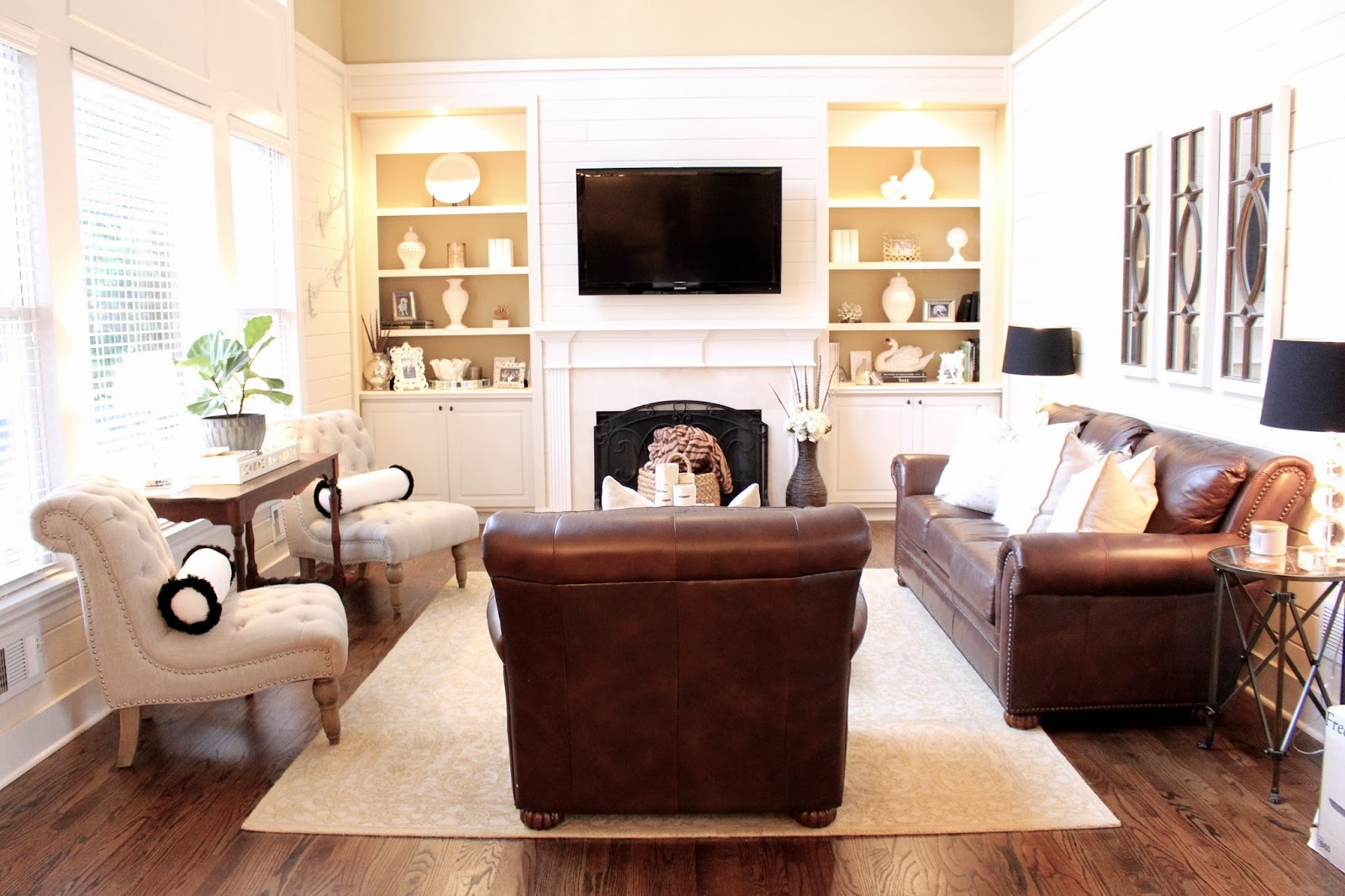 Tiffanyd new year new family room changes for Leather accent chairs for living room
