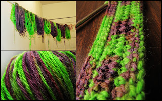 Lime green and grape purple variegated yarn, hanging to dry after being dyed, close-up of colors in yarn ball, and close-up of stitches when crocheted.