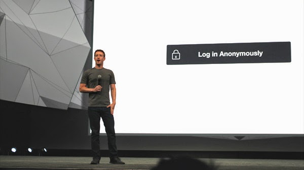 Mark Zuckerberg apresentado o Anonymous login