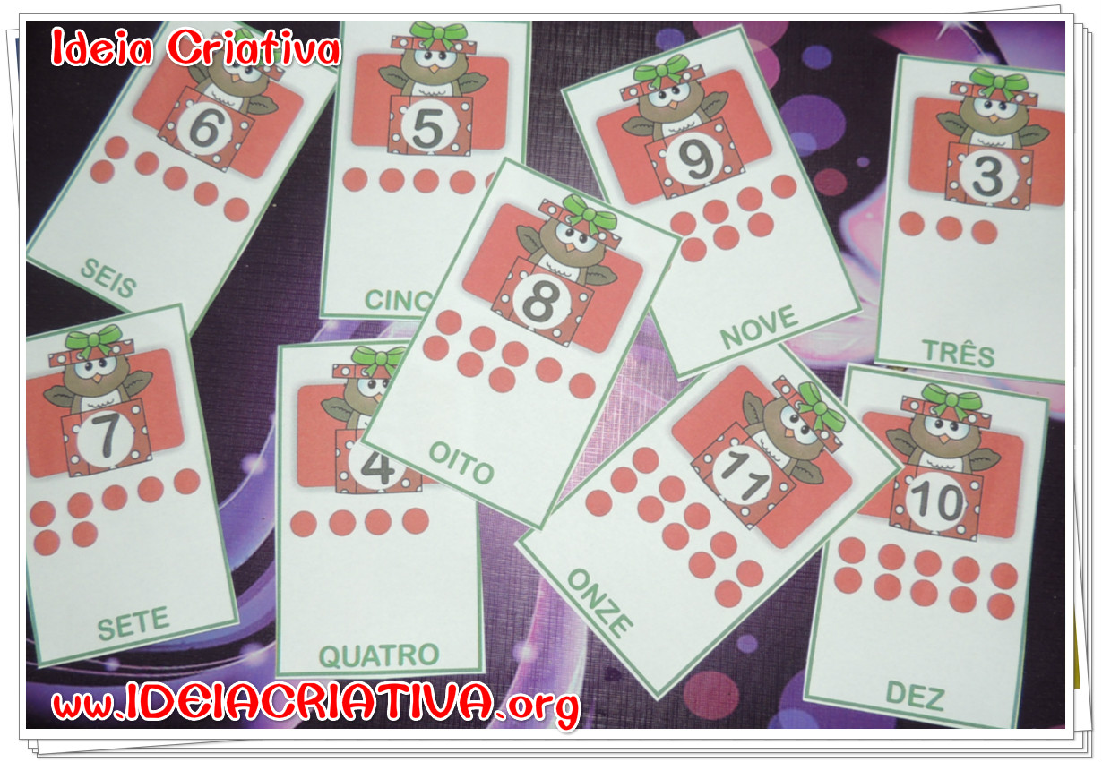 Flash cards Numerais Corujinha Natalina