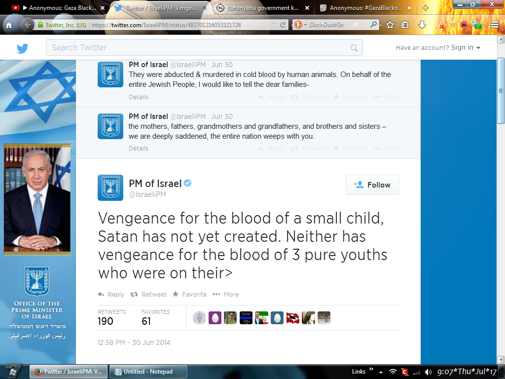 the oath https twitter com israelipm status 483701216053321728 all this for the death of 3 israelis and no outrage for the 250 dead in palestine