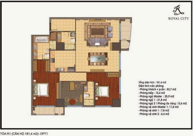 Mặt bằng căn hộ Royal City R1-181,4m2
