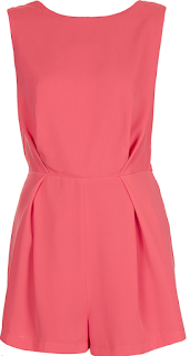 Back Detail, Bright, Coral, Dart Detail, Draped, Floral Pattern, Frankie Sandford, Gathered, Lace, Pink, Playsuit, Sleeveless, Tailored, The Saturdays, Topshop,