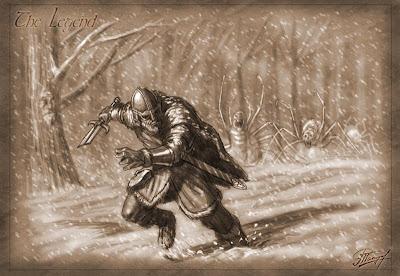 el último héroe siendo perseguido por arañas de hielo gigantes - Juego de Tronos en los siete reinos