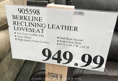 Deal for the Berkline Reclining Leather Loveseat at Costco
