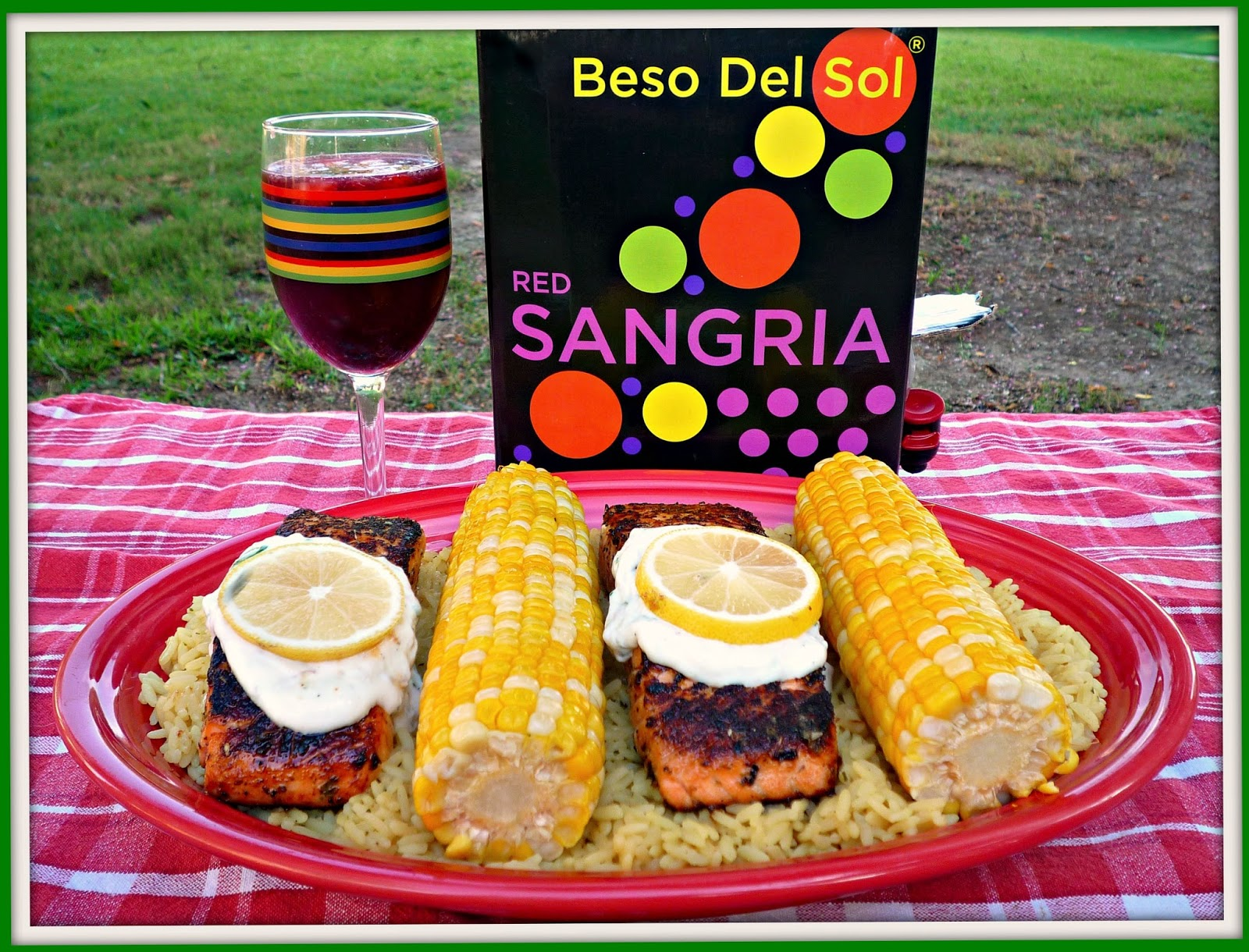 ... Sangria...Featuring Seared Salmon al Fresco with Lemon-Basil Yogurt