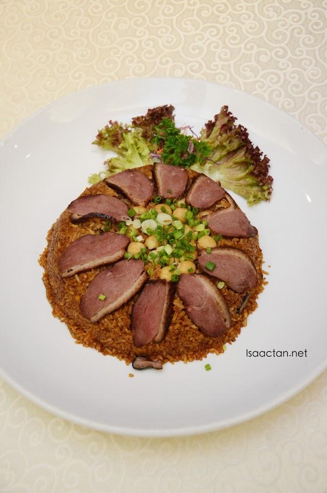 Fried Rice with Black Mushroom, Lotus Seed, and Smoked Duck