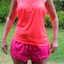 Bright colored running outfit