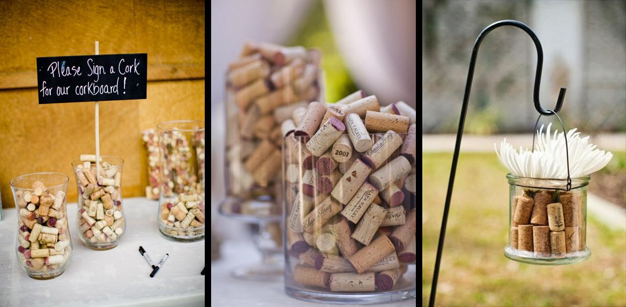 Ideas para decorar tu boda con corchos de vino: recipientes de cristal
