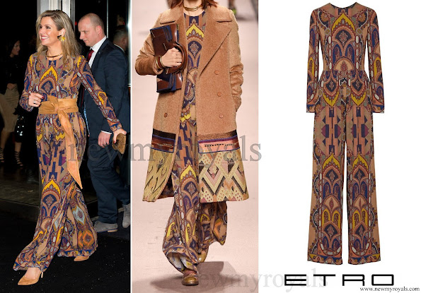 Queen Maxima wore an ETRO Printed Stretch Crepe Jumpsuit for opening of the Rotterdam International Film Festival