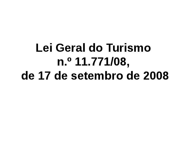 Lei Geral do Turismo