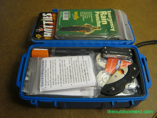 Car Survival Kit: Shown in an Otterbox with Fenix LD01 flashlight, Leatherman Squirt PS4 and Spyderco Dragonfly FFG