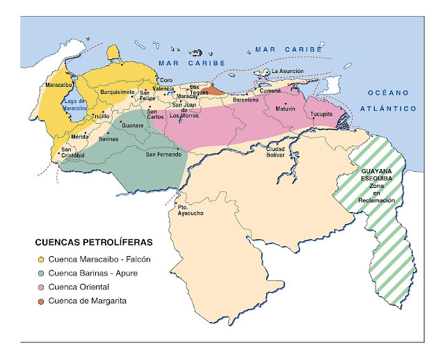 mapa de venezuela cuencas petroliferas
