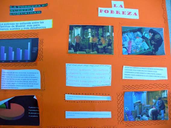 Mural de los alumnos de 6º B de primaria sobre Bancos de Alimentos