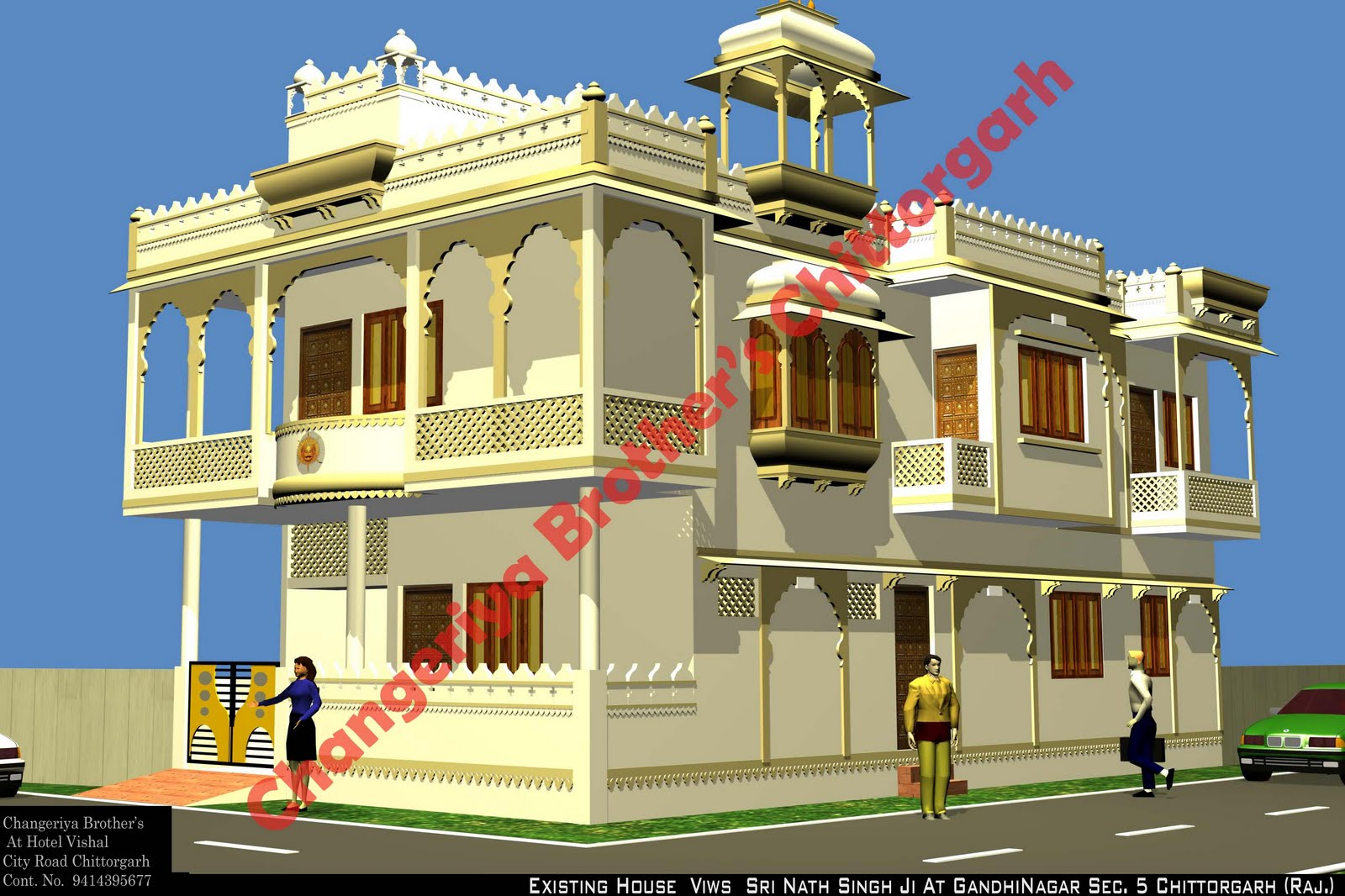 Mr sri nath singh ji 39 s royal house in rajasthani for Exterior design in india
