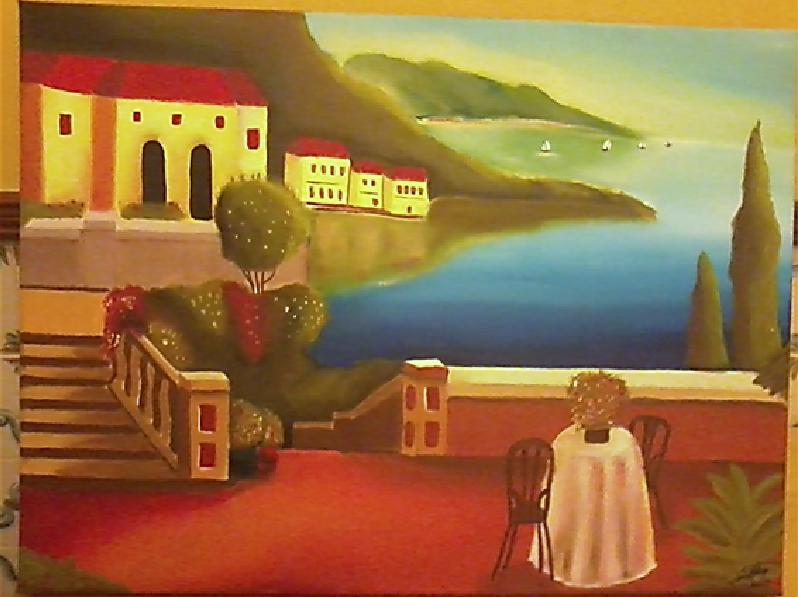 Quadro a óleo pintado pela minha filhota - Paisagem mediterrânica