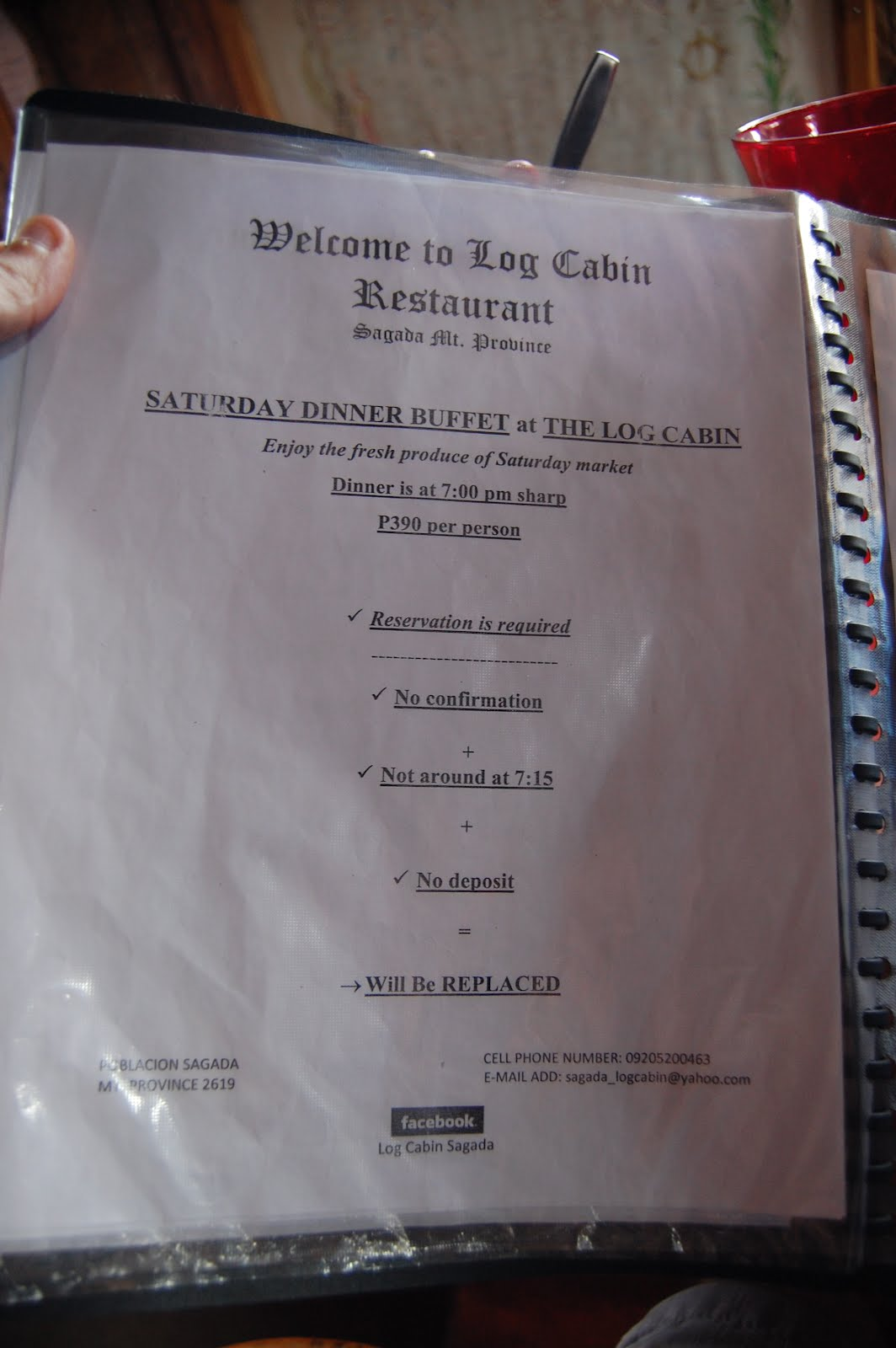 Where to eat in sagada for The cabin restaurant menu