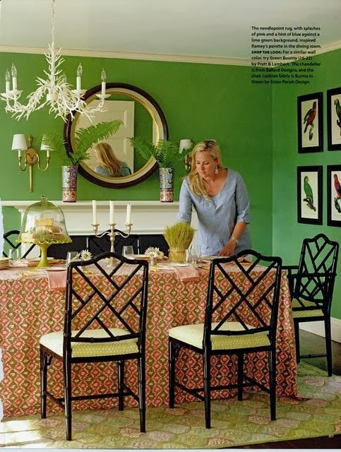 Chinoiserie chic black and white the chinese for Lime green dining room ideas