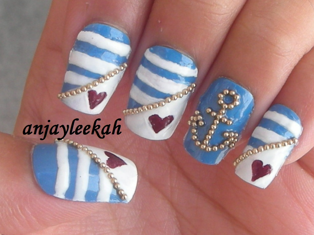 nautical nail designs insured by laura