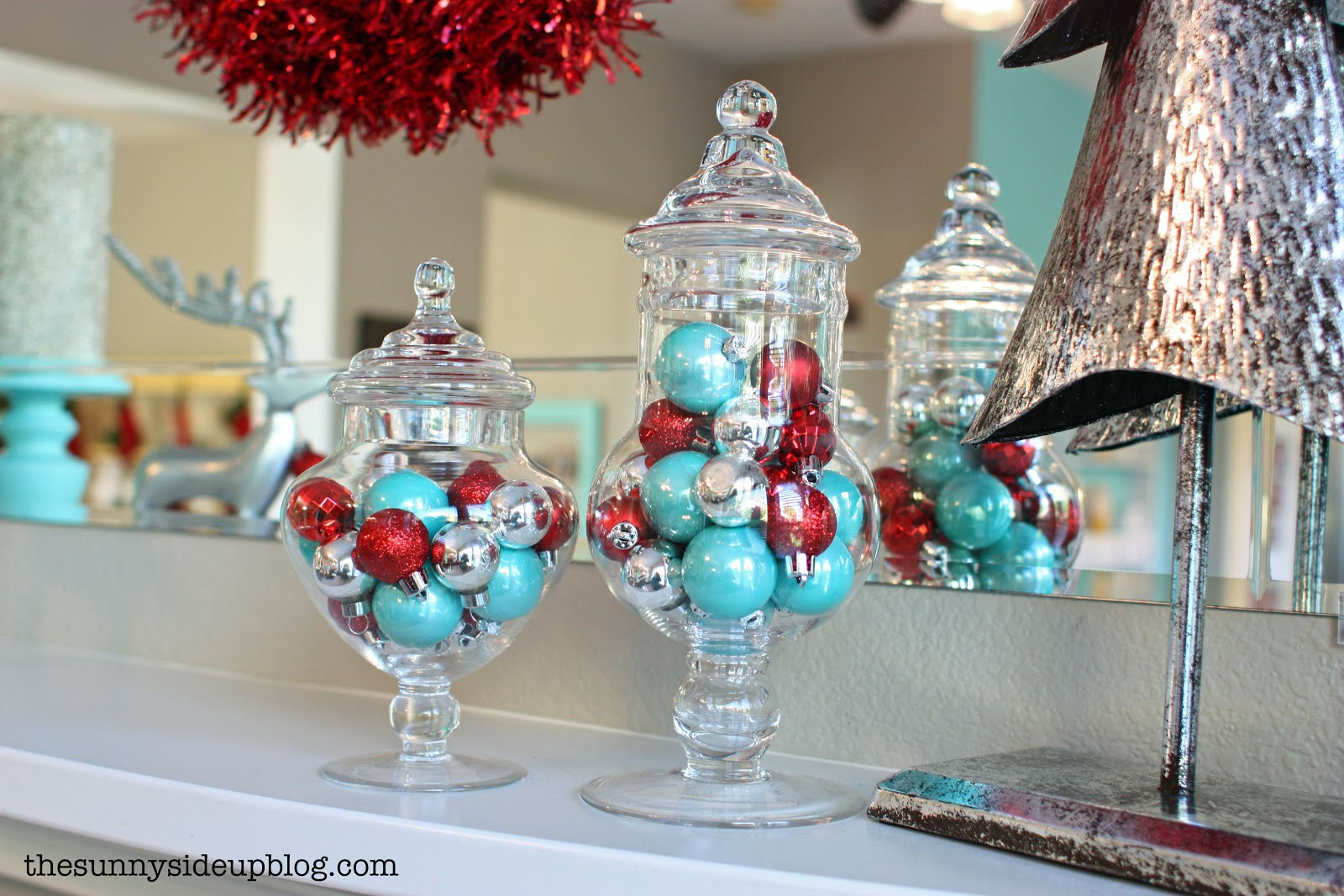 christmas decor 2012 the sunny side up blog - Teal And Silver Christmas Decorations