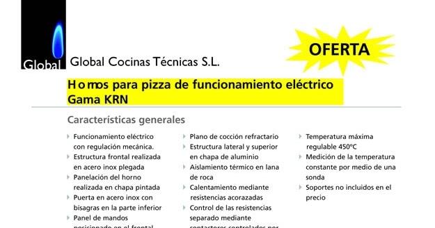 Global cocinas t cnicas oferta hornos para pizza for Ofertas de hornos de cocina
