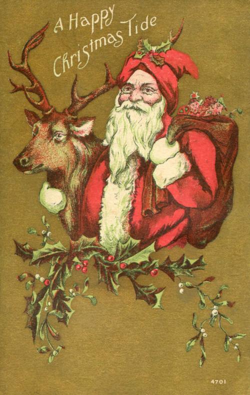 Restored Nostalgic Christmas Postcards Of Santa Claus