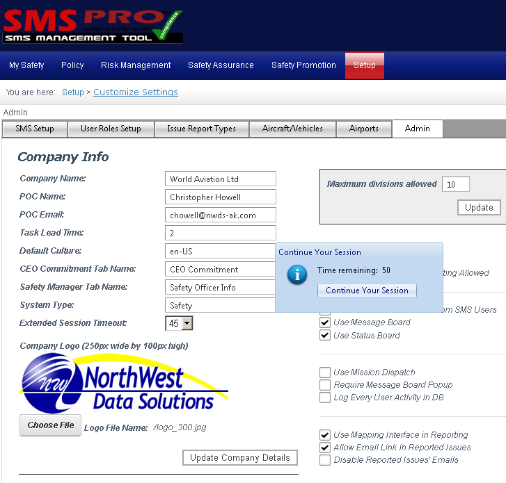 configuring aviation safety management software (SMS) automatic logoff