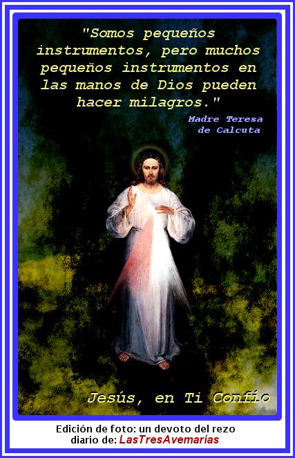 jesus misericordiso con frase de la madre teresa de calcuta