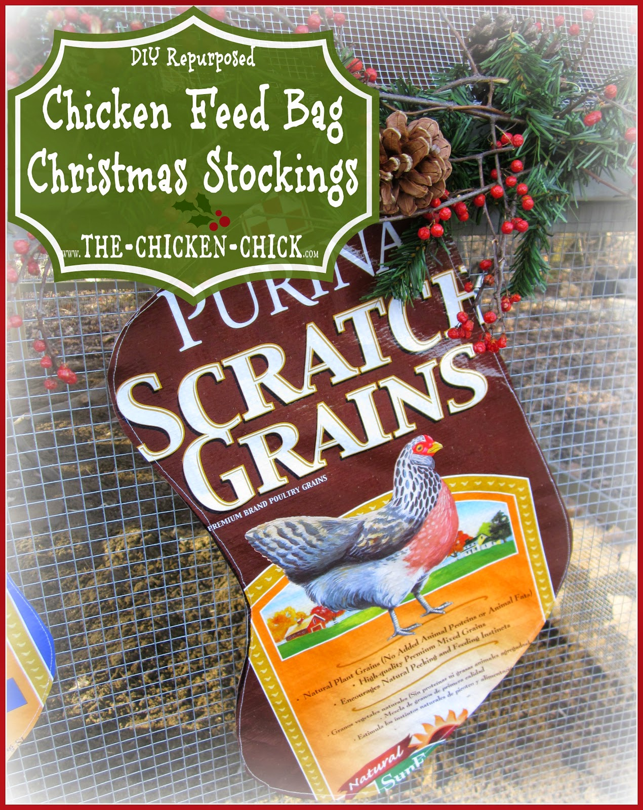 Repurposed Chicken Feed Bag Christmas Stockings tutorial