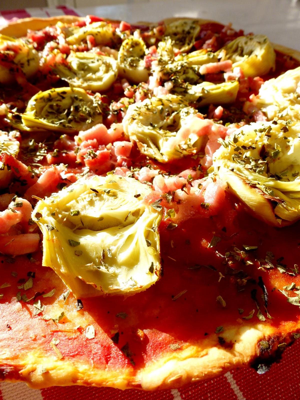 la cuisine de marion pizza artichauts lardons tomates